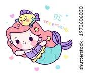 cartoon mermaid cute with... | Shutterstock .eps vector #1973606030