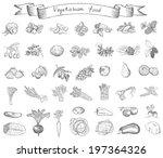 vegetarian food. hand drawing... | Shutterstock .eps vector #197364326