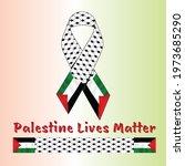 palestine ribbon vector design... | Shutterstock .eps vector #1973685290
