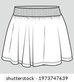 skirt flat sketch for girls.... | Shutterstock .eps vector #1973747639