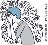 man holding head in distress...   Shutterstock .eps vector #1973787536