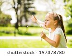 cute little girl standing on... | Shutterstock . vector #197378780