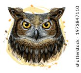 owl. color  graphic  hand drawn ... | Shutterstock .eps vector #1973847110