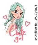 portrait illustration girl  | Shutterstock .eps vector #197384876