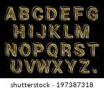 hand made look gold foil font... | Shutterstock .eps vector #197387318