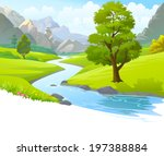 An illustration of a river flowing through mountains, hills and through scenic green fields