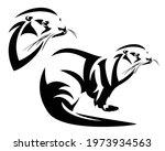 wild otter black and white...   Shutterstock .eps vector #1973934563