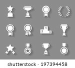 set of white vector award ... | Shutterstock .eps vector #197394458