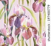 pink iris seamless pattern | Shutterstock . vector #197400779