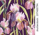 pink iris seamless pattern | Shutterstock . vector #197400794
