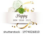 paper banner with champagne ... | Shutterstock .eps vector #1974026810