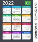 2022 calendar   vector template ... | Shutterstock .eps vector #1974053573