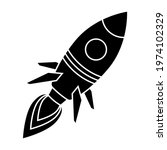 Flying Rocket Icon. Black...