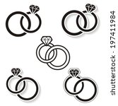 vector black wedding rings icon ... | Shutterstock .eps vector #197411984