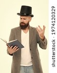 Small photo of Faced with senseless drama. Eloquence and diction. Bearded man read book. Poetry reading. Book presentation. Literature teacher. Books shop. Guy classic outfit read book. Literary criticism