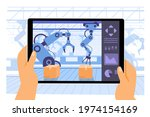 Human use tablet application as computer to control the robot arms working in procuction convoyed in the smart factory industry 4.0, high tech machinery, isolated flat illustration
