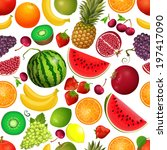 seamless texture of fruit | Shutterstock .eps vector #197417090