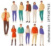 set of young men and women ... | Shutterstock .eps vector #1974187913