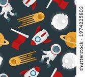 space seamless pattern vector...   Shutterstock .eps vector #1974225803