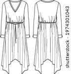 vector long sleeved dress with...   Shutterstock .eps vector #1974301043