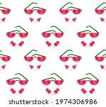 red watermelon slices ice cream ...   Shutterstock .eps vector #1974306986
