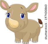 cute baby rhino cartoon | Shutterstock .eps vector #197430860