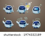 white fat modern robot mascot... | Shutterstock .eps vector #1974332189