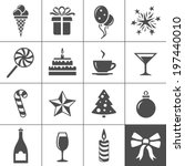 birthday celebration icons.... | Shutterstock .eps vector #197440010