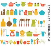 set of kitchen utensils and... | Shutterstock .eps vector #197441678