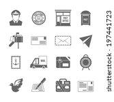 Post Service Icon Black Set...