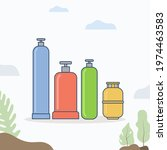 gas cylinder gas tank. lpg lng... | Shutterstock .eps vector #1974463583