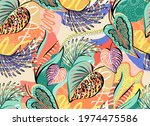 tropical pattern with... | Shutterstock .eps vector #1974475586