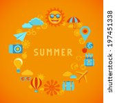 vector summer poster in flat... | Shutterstock .eps vector #197451338