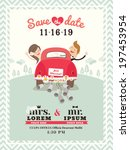 Just married car wedding invitation card design - stock vector