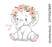 cute baby elephant with wreath...   Shutterstock .eps vector #1974565889