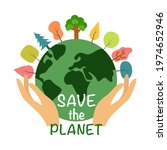 hand holding earth planet with...   Shutterstock .eps vector #1974652946