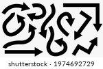 black arrow icon set. bold...   Shutterstock .eps vector #1974692729