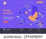 mobile banking isometric...