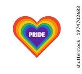 lgbt love heart rainbow pride... | Shutterstock .eps vector #1974702683