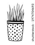 flower pot with decorative... | Shutterstock .eps vector #1974704693