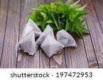 tea bags  on wooden background. ... | Shutterstock . vector #197472953