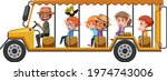 zoo concept with children on... | Shutterstock .eps vector #1974743006