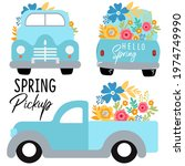 Spring Pickup Truck Vector Art...