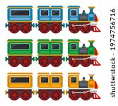 cartoon toy train with wagons... | Shutterstock .eps vector #1974756716