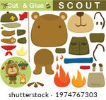 funny bear the boy scout with... | Shutterstock .eps vector #1974767303