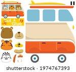 funny animals on van. education ... | Shutterstock .eps vector #1974767393