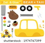 funny bear driving yellow taxi. ... | Shutterstock .eps vector #1974767399