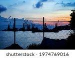 Sunset View Of  Crane Vessel...