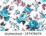 sweet retro blue rose fabric on ... | Shutterstock . vector #197478674