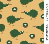 kiwi fruit and kiwi bird on...   Shutterstock .eps vector #1974813776